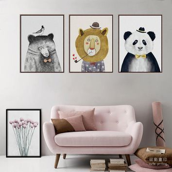 X01 Watercolor Nordic Animal Lion Bear Panda Triptych  A4 Art Prints Poster Hipster Wall Picture Canvas Painting for living Room