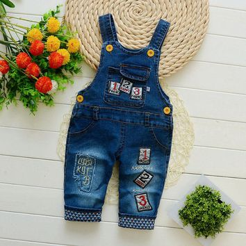 baby pants denim infant overalls 2017 autumn little children bib pants kids boys girls trousers for toddler cartoon longs jeans