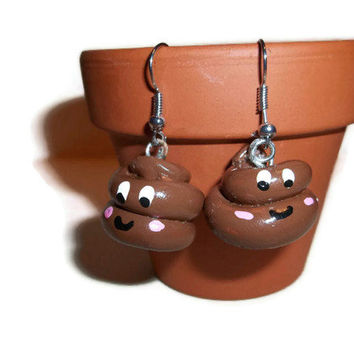 Happy Poo Charm Earrings, Polymer Poo Charms, Poop jewelry, Poop earrings, polymer clay poop, gag gifts, funny jewelry