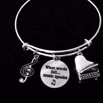 Piano Music Note Jewelry When Words Fail Music Speaks Adjustable Charm Bracelet Silver Expandable Wire Bangle Musician One Size Fits All Gift