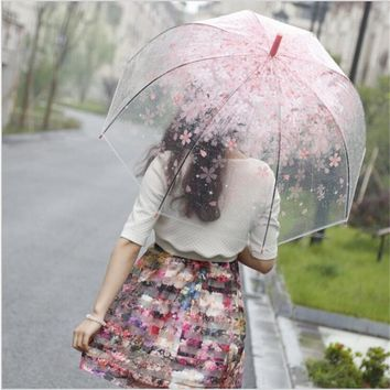 New Fashion Cherry Transparent Rainny Sunny Umbrella Parasol Cute Umbrella Women Cute Clear Semi-automatic Long Handle Umbrellas
