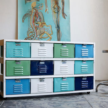 4 x 3 Vintage Locker Basket Unit with Sea Foam Colored Drawers and Casters