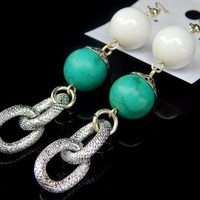 White Jade and Turquoise Earrings, Gemstone earrings, Long Earrings - FREE SHIPPING