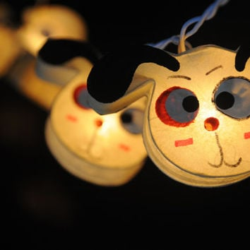 20 x mulberry paper lantern little puppy cute comic funny dog hanging string light kid bedroom decoration decor artwork night light