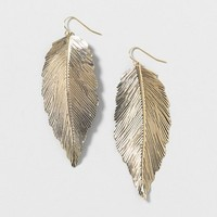Gold Feather Drop Earrings  | Claire's