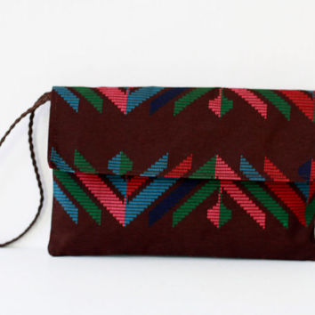 Tribal Envelope Clutch, Brown Clutch Purse