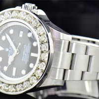 Mens Rolex 40mm Sea-Dweller SD4000 Genuine Diamond Watch Channel Set Bezel 10 CT
