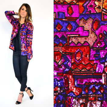 heavily BEADED geometric trophy 100% pure SILK art deco blazer JACKET, extra small-small
