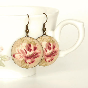 Dangle Earrings - Antique Roses - Pink Beige Tan and Green Romantic Fabric Covered Buttons Earrings