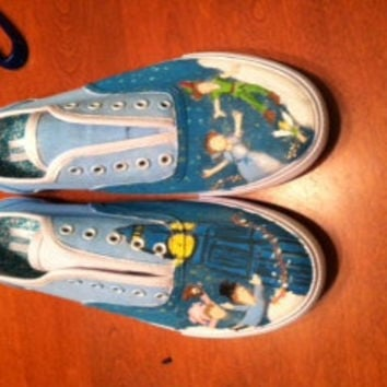 Custom painted Peter Pan shoes Toms Vans by heyitsmorganrae