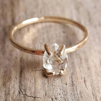 Solid 14K Yellow Gold Herkimer Diamond Engagement Ring - Quartz Crystal Ring - Gold Engagement Ring - Raw Quartz Ring - Raw Crystal Ring