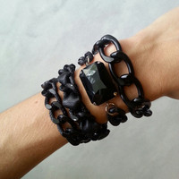 Blackout Collection - Leather Chain Bracelets, Crystals and Layering Chains