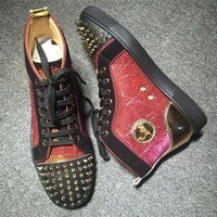 Cl Christian Louboutin Lou Spikes Style #2200 Sneakers Fashion Shoes - Best Deal Online