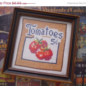 MOVING SALE SALE Vintage Farmhouse Tomatoes Cross Stitch Framed