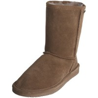 Bearpaw Womens Emma Short 8-Inch Suede Sheepskin Boot, Nutmeg, US 7