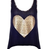 Heart Sequin Top - Kely Clothing
