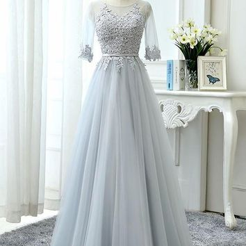 Light Grey Lace Grenadine Pleated Belt High Waisted Plus Size Fluffy Tulle Bridesmaid Maxi Dress