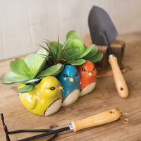 Ceramic Triple Birds Planter