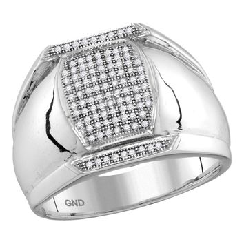 10kt White Gold Mens Round Pave-set Diamond Vertical Rectangle Cluster Ring 1/3 Cttw