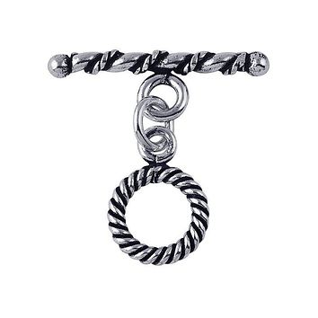 TSF-140 Silver Overlay Simple & Elegant  Twisted Wire Toggle 10MM Round Ring