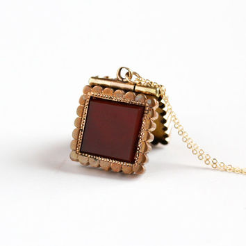 Antique Carnelian & Black Onyx Rose Gold Filled Double Sided Locket Necklace - Victorian Dated 1890 Intaglio Fob Cameo Gem Photo Jewelry