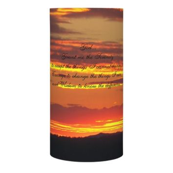 Serenity Prayer Orange Sunset Photo Flameless Candle