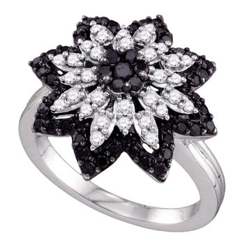 10kt White Gold Womens Round Black Color Enhanced Diamond Flower Cluster Ring 7/8 Cttw