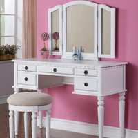 Vanity Set with 3 Fold Mirror, Stool and Drawers in White Finish