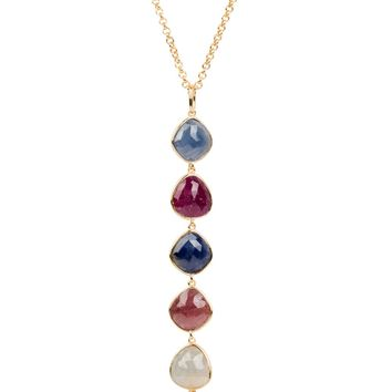 Indian Ruby and Sapphire Drop Necklace - Gold