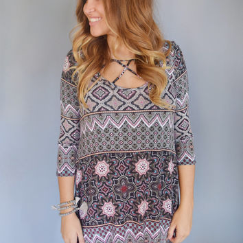 Medallion Strappy Front Dress