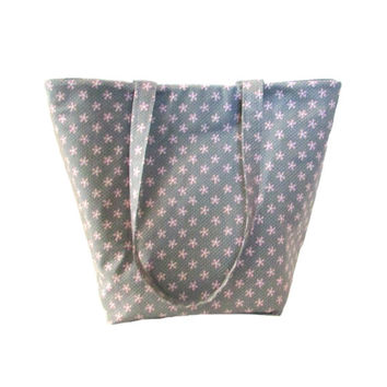 Gray Tote Bag, Cloth Purse, Pink Polka Dots, Pink Flowers, Floral Handmade Handbag, Fabric Shoulder Bag, Gift for Her