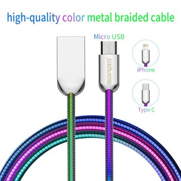 High-quality rainbow color metal braided data & fast charging cellphone cables for iPhone USB Type C/Micro USB/For Lightning