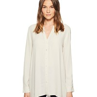 Eileen Fisher Silk Georgette Crepe Stand Collar Top