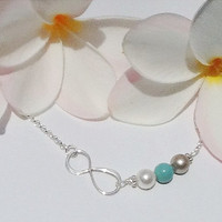 Infinity Birthstone Swarovski pearl necklace. Represent your children's birth months with beautiful pearls.Gift for Mom.