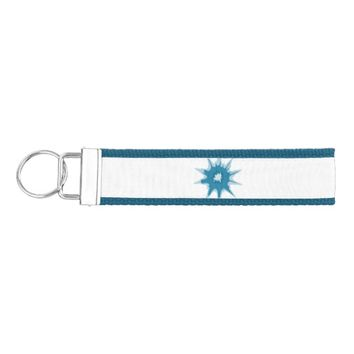 Blue bullet hole. Add your text. Wrist Keychain