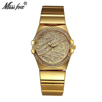 Miss Fox Weave Gold Watch Women Famous Brand Quartz Golden Clock Ladies Designer Watches Luxury Diamond Watch C Relogio Feminino