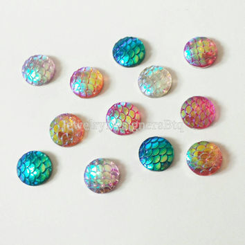 12mm Mermaid Cabochon AB Scale Cabochons Mermaids Jewelry Iridescent Resin Kawaii Cabs Case Deco Dragon Fish Scales Earring Findings Supply