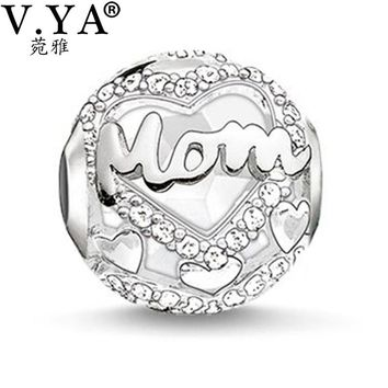 DIY Charms for Mom Crystal Beads fit for Pandora Necklace Bracelets Monther's Day Jewelry for Mom Letter