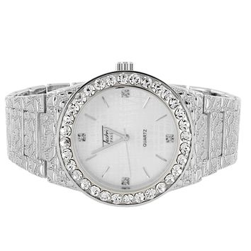 Men's Silver Finish Solitaire Bezel Nugget Link Techno Pave Watch