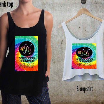 5 seconds of summer tie dye For Woman Tank Top , Man Tank Top / Crop Shirt, Sexy Shirt,Cropped Shirt,Crop Tshirt Women,Crop Shirt Women S, M, L, XL, 2XL**