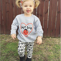 Baby Girls Kids Toddler Shirt Tops+XO Long Pants Casual 3Pcs Outfit Set Clothing