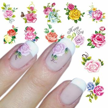 ZKO 1 Sheet Optional Water Decal Nail Art Water Transfer Gothic Blooming Flower Sticker Stamping For Nails Art Stamp