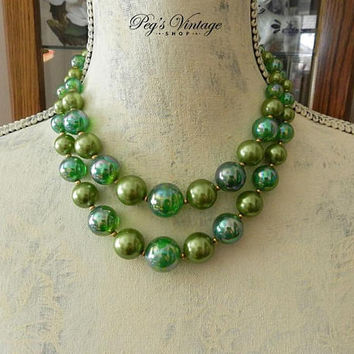 Vintage Green Pearl Necklace, Ombre Bead Multi Strand Necklace, Double Strand Necklace, 50's Green Bead Choker Necklace