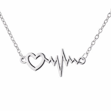 Dropshipping Trendy EKG Heartbeat Zigzag Wave Pattern Pendant Necklace Gift for Doctor Nurse or Medical Colleague