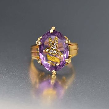 Fine Carved Amethyst Bird and Diamond 18K Gold Ring