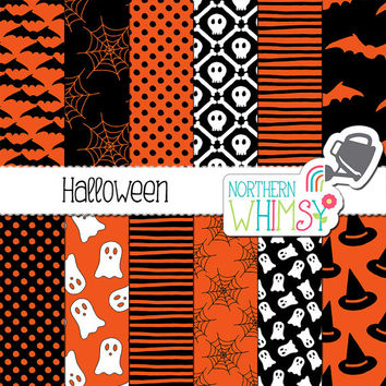 Halloween Digital Paper - black and orange spiderweb, ghost, skull, bat, and witch hat seamless patterns - scrapbook paper - commercial use