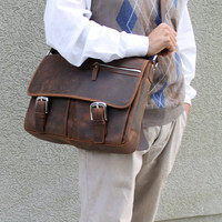 "16"" Cowhide Leather Messenger Bag LM10. Light Coffee"