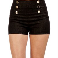 Black/Gold High Waist Shorts
