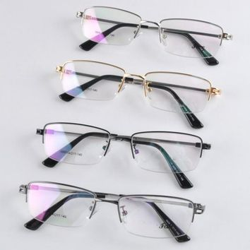 Durable Retro Men Clear Lens Metal Frame Half Rim Myopia Eye Glasses 2017 Newest