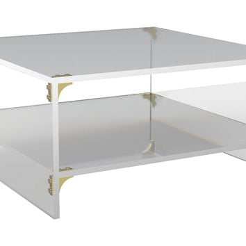 Parisienne Square Coffee Table w/ Shelf, Acrylic / Lucite, Coffee Table Base, Sofa Table
